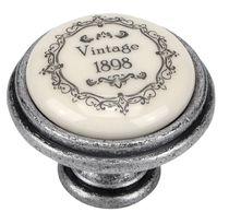 Bouton Vintage porcelaine Argent vieilli