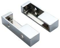 Support extrémité pour tube de penderie rectangulaire chromé