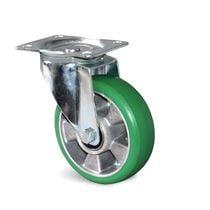 Roulette de manutention polyuréthane vert
