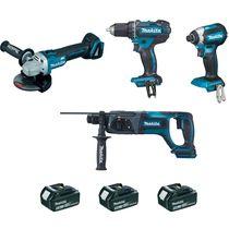 Lot 4 outils sans fil 18 v 5 ah