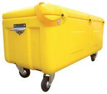 Coffre de chantier jaune polyéthylène rotomoulé avec sangle et roues