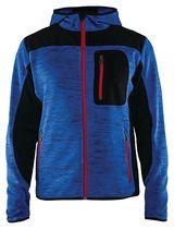 Veste tricotée fashion à capuche 4930 Bleu roi / noir