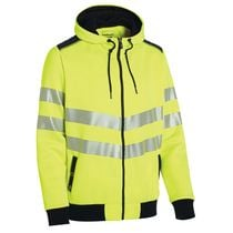 Sweat zippé à capuche HV Luk-light Jaune / marine