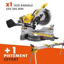 Lot scie radiale 54 V 305 mm + piétement offert