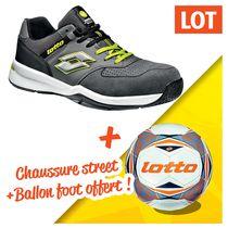Lot chaussure street + 1 ballon foot offert gris/vert