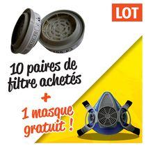 Lot 10 paires filtres A2-P3 + 1 demi-masque 200 ls offert