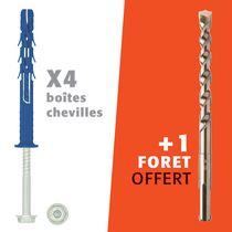 Kit cheville FF8 tête héxagonale et foret