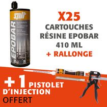 lot de 25 cartouches de résine epobar 410 ml+ rallonge + pistolet d'injection offert lot de 25 cartouches de résine epobar 410 ml + rallonge + pistolet d'injection offert