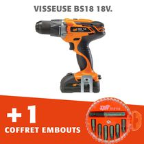 Lot visseuse BS18 18V + coffret embout