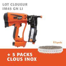 Lot cloueur IM45 GN LI + 5 packs clous inox