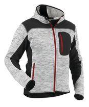Veste tricotée fashion à capuche Gris chiné / noir