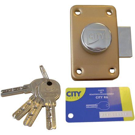 Verrous à 2 entrées, cylindre Ø 26 mm CITY-R62E : verrou cyl. long. 40 mm varié - 4 clés
