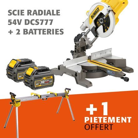 Lot scie radiale 54 V DCS777 + pietement offert