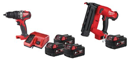 Lot visseuse M18 BLPD2-503X 3x5Ah + cloueur FN18GS-0X + batterie offerte